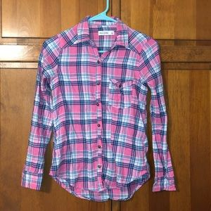 Abercrombie Kids Flannel Pink, Blue, and White L